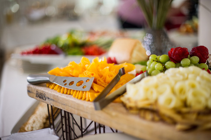 Fruit and cheese display from a corporate event