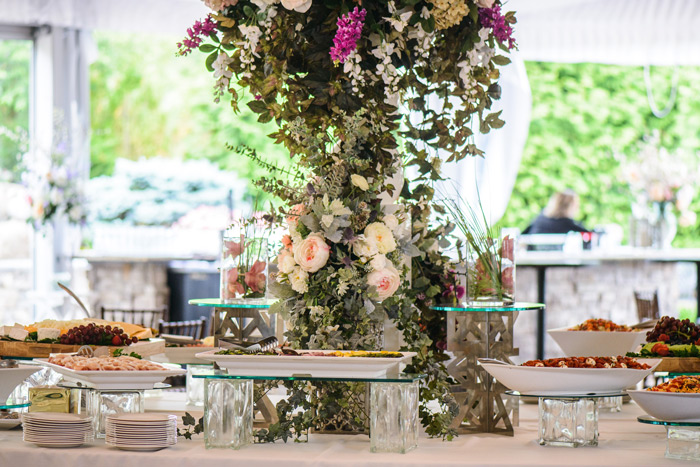 A display of food in our outdoor ballroom